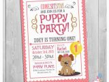 Pet Birthday Invitations Puppy Invitation Custom Printable Girls Puppy First Birthday