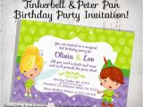 Peter Pan Birthday Invitations Tinkerbell Peter Pan Birthday Party Invitation Design
