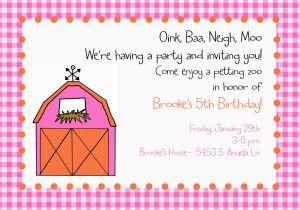 Petting Zoo Birthday Party Invitations Girl Barnyard