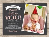 Photo Thank You Cards 1st Birthday Girls 1st Birthday Thank You Card Digital by Inkandcarddesigns