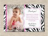 Photo Thank You Cards 1st Birthday Zebra Print Photo Thank You Cards Printable Photo Thank You
