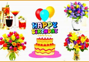 Pictures Of Birthday Flowers And Balloons Happy Cake With