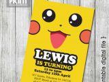 Pikachu Birthday Invitations Party Invitations Pikachu Pokemon 5×7 by