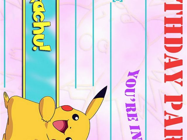 Pikachu Birthday Invitations Pokemon Coloring Pages ...