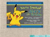 Pikachu Birthday Invitations Pokemon Pikachu Birthday Invitation Custom Birthday Boy