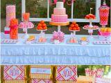 Pink 40th Birthday Decorations Pink orange Monogram 40th Birthday Party Pizzazzerie