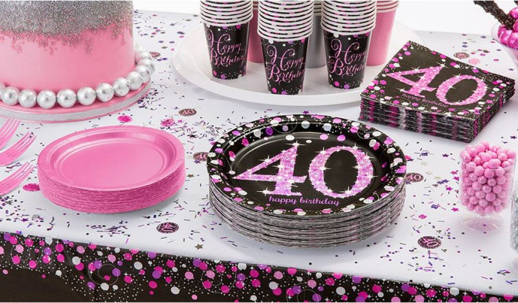 Pink 40th Birthday Decorations Sparkling Celebration