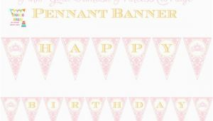 Pink and Gold Happy Birthday Banner Free Printable Pink Gold Damask Princess Carriage Printable Pennant