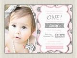 Pink and Silver Birthday Invitations First Birthday Invitation Silver and Pink Princess