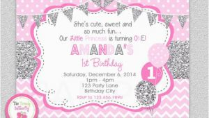 Pink and Silver Birthday Invitations Girls 1st Birthday Invitation Silver Pink Girls 1st