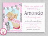 Pink and Silver Birthday Invitations Pink Silver Chevron 1st Birthday Invitation Girls First