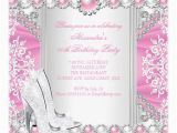 Pink and Silver Birthday Invitations Pink Silver High Heels White Pearl Birthday Party