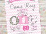 Pink and Silver Birthday Invitations Princess Birthday Invitation 1st Birthday Party Invite