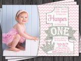 Pink and Silver Birthday Invitations Princess First Birthday Invitation Pink and Silver by