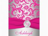 Pink and Silver Birthday Invitations Silver and Pink Damask 30th Birthday Invitation 5 Quot X 7