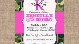 Pink Camo Birthday Invitations