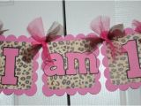 Pink Cheetah Print Birthday Decorations Cheetah Print I Am 1 Name Banner Birthday Party by