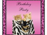 Pink Cheetah Print Birthday Decorations Kittens Pink Leopard Print Fur Birthday Party Invitation