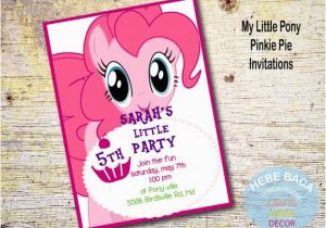 Pinkie Pie Birthday Invitations My Little Pony Pinkie Pie Invitations