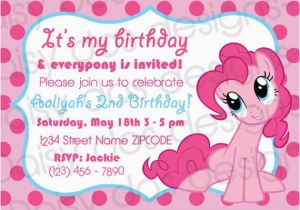 Pinkie Pie Birthday Invitations Pinkie Pie Party Invitation My Little Pony Only 10 to