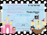 Pirate and Princess Birthday Invitations Pirate and Princess Party Invitation Free