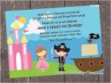Pirate and Princess Birthday Invitations Princess and Pirate Birthday Invitation by Paper Monkey