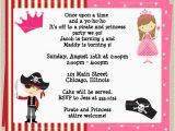Pirate and Princess Birthday Invitations Princess and Pirate Birthday Party Invitations Drevio
