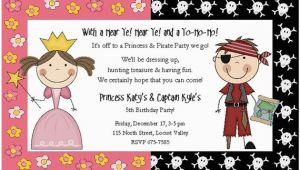 Pirate and Princess Birthday Invitations Princess and Pirate Birthday Party Invitations