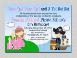 Pirate and Princess Birthday Invitations Princess Pirate Birthday Invitation Princess and Pirate Party