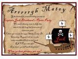 Pirate Birthday Party Invitation Wording Personalized Birthday Invitations Pirate by