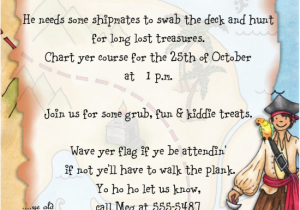 Pirate Birthday Party Invitation Wording Themed