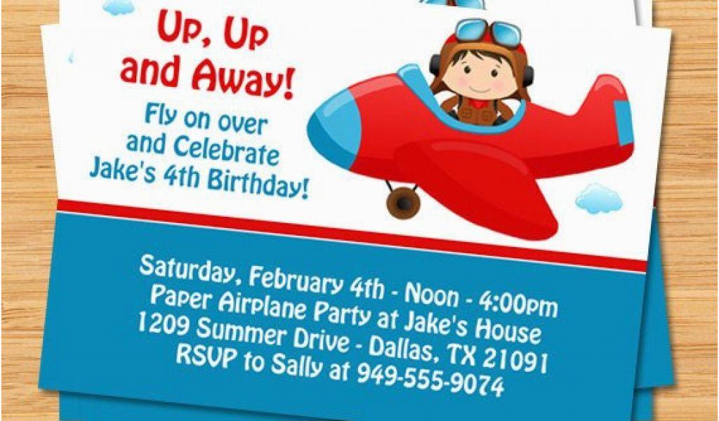 Plane Birthday Invitations Airplane Party Invitation