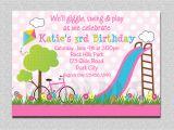 Playground Birthday Invitations Birthday Party Invitations Girls Pink Playground Swing