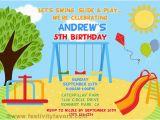 Playground Birthday Invitations Playground Birthday Party Invitations Kids Birthday