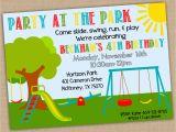 Playground Birthday Invitations Printable Park Birthday Invitation Park Birthday Party