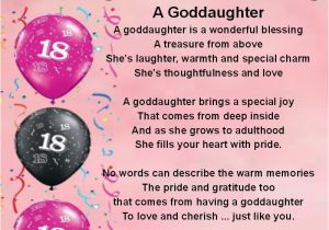 Poems for Birthday Girls Personalised Coaster Goddaughter Poem 18th Birthday