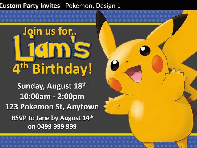 Pokemon Birthday Party Invitation Wording