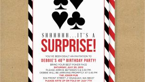 Poker Birthday Party Invitations Poker theme Surprise Party Printable Birthday Invitation