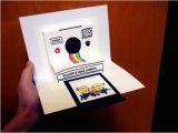 Polaroid Camera Pop Up Birthday Card with Printable Template Polaroid Camera Pop Up Card Birthday Invitation Wedding