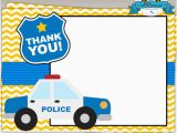 Police Birthday Cards Police Birthday Party Printable Thank You Cards