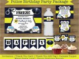 Police Birthday Cards Police Party Printables Police Birthday Party Package