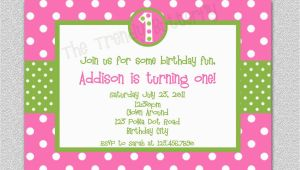 Polka Dot First Birthday Invitations Hot Pink Polka Dot Birthday Invitation Polka Dot Birthday