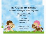 Pony Ride Birthday Invitations Cute Pony Party Girls Horse Birthday Invitation Horse or