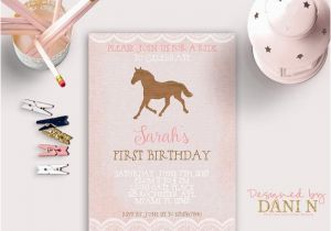 Pony Ride Birthday Invitations Horse Rustic Birthday Invitation Derby Pink Burlap Lace