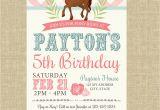 Pony Ride Birthday Invitations Pony Birthday Invitation Pigskins Pigtails