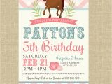 Pony Ride Birthday Invitations Pony Birthday Invitation Pigskins Pigtails