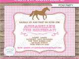 Pony Ride Birthday Invitations Pony Party Invitations Horse Party Birthday Party