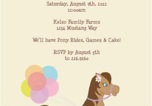 Pony Ride Birthday Invitations Pony Rides Birthday Party Invitation Any Colors
