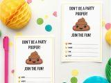 Poop Emoji Birthday Invitations Emoji Party Ideas and Colorful Printables