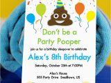 Poop Emoji Birthday Invitations Party Pooper Invitation with Poop Emoji